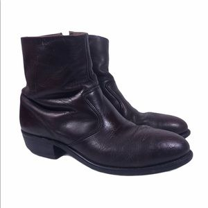 Double H Side Zip Burgundy Leather Boots